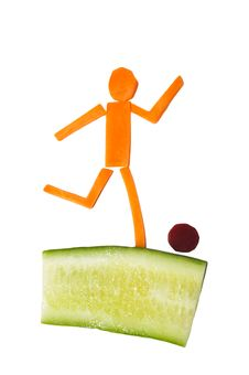 Free Man Made Of Carrots And Cucumber Stock Images - 17609564