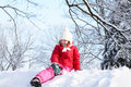 Free The Girl Sitting On Snow In The Park Royalty Free Stock Image - 17614296