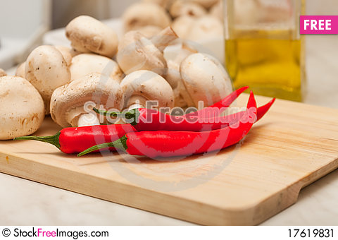 Free Red Hot Chili Pepper And Mushrooms Stock Image - 17619831
