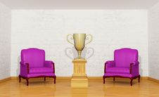 Golden Trophy Cup On The Pedestal In Room Royalty Free Stock Photos