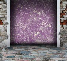 Purple Grunge Interior With Columns Royalty Free Stock Photos