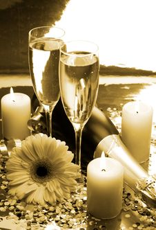 Champagne And Candles Royalty Free Stock Photography