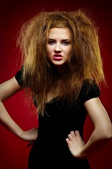 Free Portrait Of The Malicious Girl With A Mad Hairdres Stock Images - 17611244