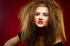Free Portrait Of The Malicious Girl With A Mad Hairdres Royalty Free Stock Image - 17611256