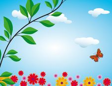 Free Flowers, Butterfly And Clouds Royalty Free Stock Photography - 17611277