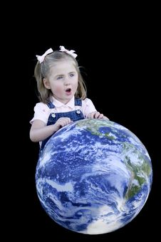 Girl Singing With Earth Royalty Free Stock Photo
