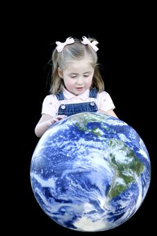 Small Girl Looking At Earth Stock Photos