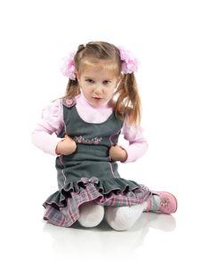 Anger Little Girl Sit On The Floor Stock Image
