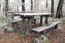 Free Frozen Picnic Table Royalty Free Stock Photos - 17614338