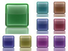 Set Of 9 Aqua Buttons With Light Reflection Stock Photos