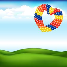 Landscape With Balls In Form Of Heart. Vector Stock Photos