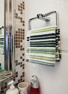 Towels Hanging On The Wall Stock Images