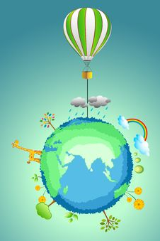 Free Earth With Parachute Stock Photo - 17617760