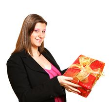 Free Young Girl With A Gift Stock Photography - 17618942