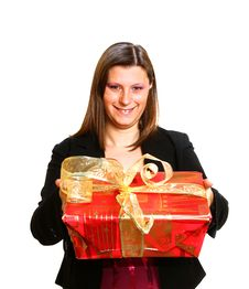 Free Young Girl With A Gift Stock Photography - 17618952