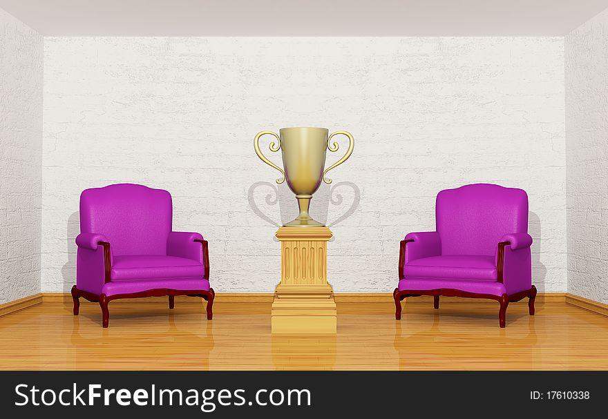 Golden trophy cup on the pedestal in room