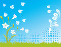 Free Blue Flower Sky Spring Illustration  Landsca Stock Images - 17623484