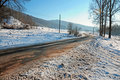 Free Curved Road Covered By Snow Stock Images - 17627024