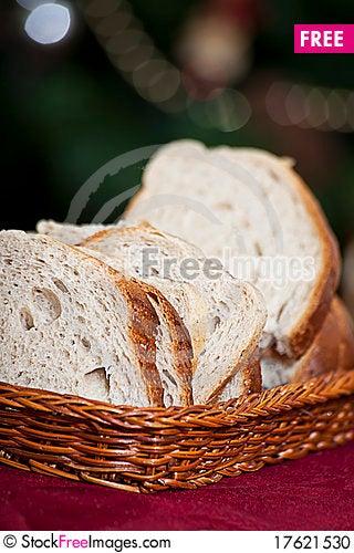 Bread in wicker basket Stock Photo