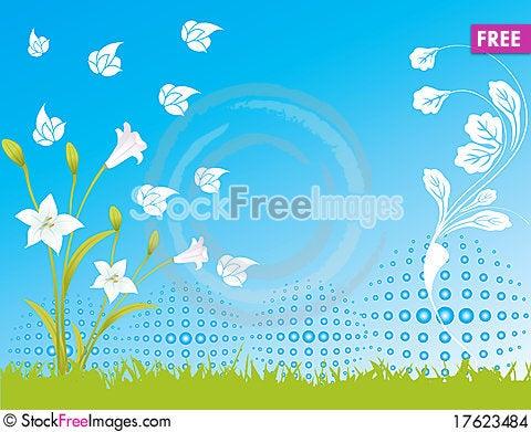 Blue flower sky spring illustration landsca Cartoon Illustration