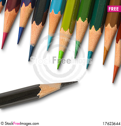 Free A Black Color Pencil And Cool Tone Color Pencil Stock Images - 17623644