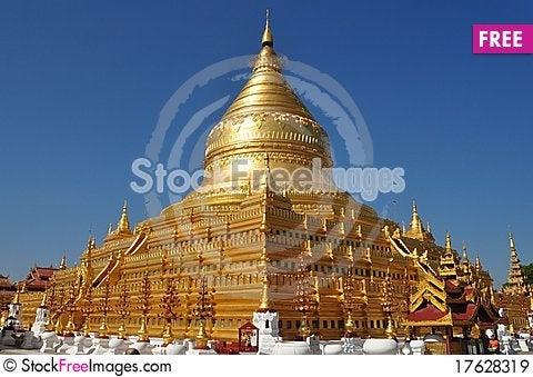 Shwezigon Pagoda Bagan Myanmar Stock Photo