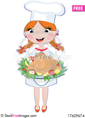 Girl cook with turkey Stock Photo