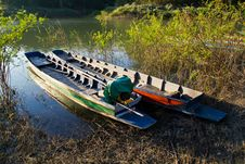 Free Colorful Boats On The Bank Royalty Free Stock Photography - 17620877