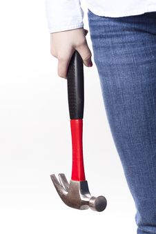 Free Woman Holding Hammer At Side Stock Image - 17621301