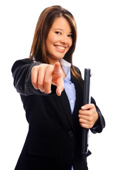 Businesswoman Pointing Into Camera Stock Photos