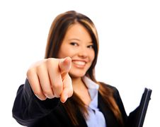Businesswoman Pointing Into Camera Stock Image