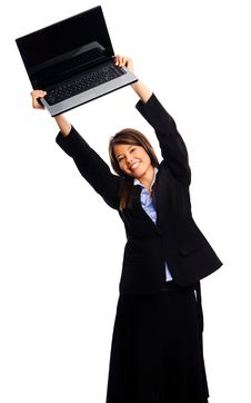 Free Businesswoman Holding Laptop Royalty Free Stock Images - 17621859
