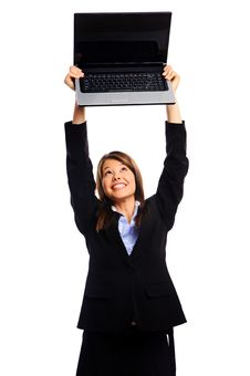 Free Businesswoman Holding Laptop Stock Image - 17621861