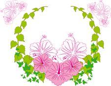 Wreath Flower Spring Illustration  Landsca Stock Image