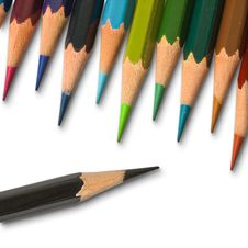 A Black Color Pencil And Cool Tone Color Pencil Stock Images