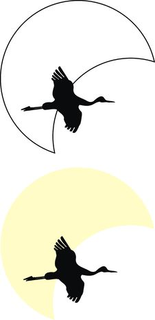Free Silhouettes Of Flying Crane Against Moon Stock Images - 17623694