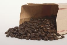 Free Coffee Beans In A Brown Paper Bag Stock Images - 17623744