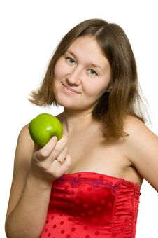 Free Young Woman With Apple Royalty Free Stock Images - 17624079