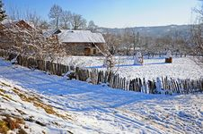 Rustic House In Transylvania In Winter Time Stock Photos