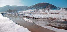 Free Curved River On Snowy Valley Stock Images - 17627434