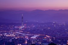 Night Scenes Of The Taipei City, Taiwan Stock Images