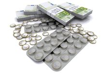 Pack Of Tablets With The Coins In Euro Stock Photos