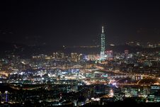 Night Scenes Of The Taipei City, Taiwan Royalty Free Stock Photo
