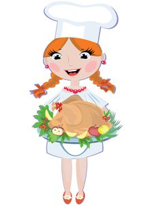 Free Girl Cook With Turkey Stock Images - 17629674