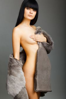 Brunette In Fox Cape Royalty Free Stock Photo