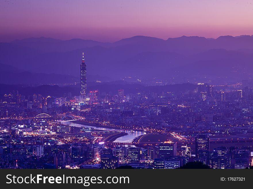 Snow Night scenes of the Taipei city , Taiwan