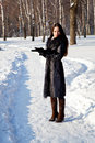 Free A Woman Is In The Winter Park Royalty Free Stock Photo - 17634885
