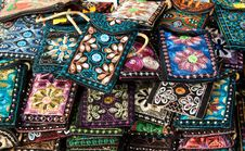Free Embroidered Oriental Patterned Purses Royalty Free Stock Images - 17630439