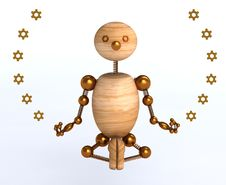 Free 3d Wood Man Meditation Royalty Free Stock Image - 17630956