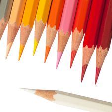 Hot Tone Color Pencil And White Color Pencil Stock Image